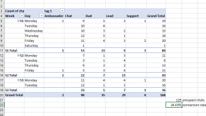 The final pivot table results